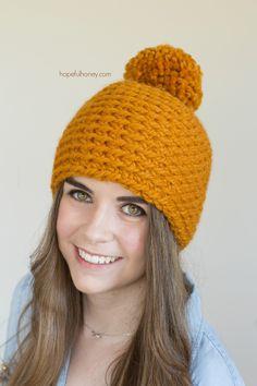 Toffee Apple Pompom Beanie  - Free Crochet Pattern