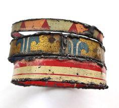 Vintage tin bangle trio by pipnmolly on Etsy