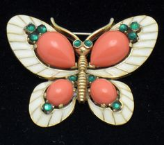 CROWN TRIFARI Brooch 1968 LOrient Snakeskin Figural Butterfly from atouchofrosevintagejewels on Ruby Lane