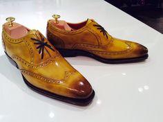 Cosimo Yellow vintage Antonio De Torres patina brogue with burnishing.   101 e last.