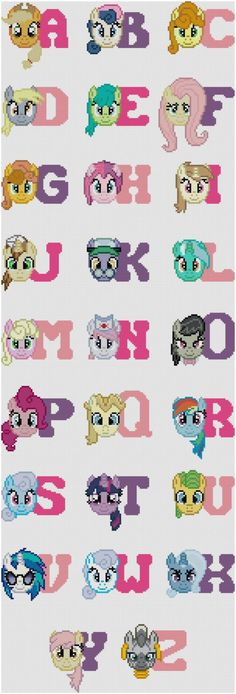 This is a pattern for a complete My Little Pony alphabet. Get ambitious and stitch all 26, or stitch just one. Combine letters to stitch out