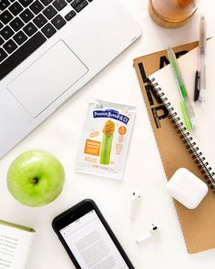 Rise & grind with the perfect snack for your study session 🍏🥜📓📱 #BacktoSchool Peanut Butter And Co, Rise N Grind, Study Break, Lunch Box, Snacks, Bento Box, Treats, Finger Foods, Appetizers