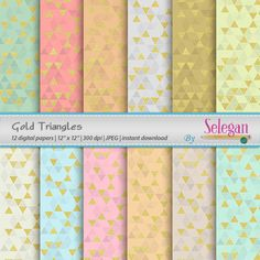 Gold Triangles, Digital Paper, Scrapbooking, Paper, 12x12, Printable, Triangle, Pattern, Golden, Texture, Background by Selegan on Etsy