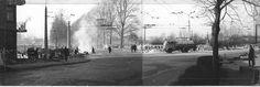 """klin widok z fabrycznej z lewej widoczny fragment kamienicy przy ul. 1 maja.  Lublin, 8.II.1969, """"Klin"""" w przebudowie 1 Maja, Street View, Ul, Snow, Outdoor, Outdoors, Outdoor Games, The Great Outdoors, Eyes"""