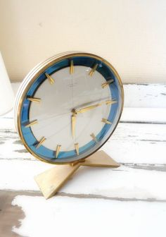 Mid Centuryvintage Gold And Blue Clock-interior Design Turquoise- Blue White…