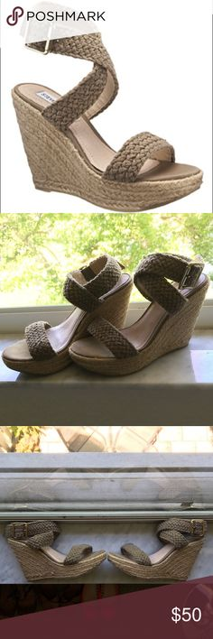 Steve Madden olive wedges These wedges match with anything ! Has lots of life left but have been used numerous times. Please ask questions ! Thanks . Reasonable offers only in the offer button not the comments Steve Madden Shoes Espadrilles