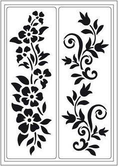 "Stencil ""Summer meadow"" self-adhesive, stencil, flowers Stencil Patterns, Stencil Designs, Wall Art Designs, Viva Decor, Jaali Design, Plasma Cutter Art, Steel Gate Design, Adhesive Stencils, Boarder Designs"