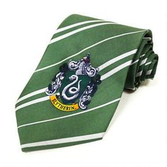 This wonderful Slytherin tie is based on the one worn by Malfoy and his Slytherin house cronies in the Harry Potter movies. This grey and green 100% silk tie measures 56 inches by 3.8 inches. In addition, the tie has a beautiful Slytherin gouse logo on one end. For children ages 8 and up as well as adults.
