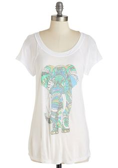 Pack Up Your Trunk Top - Mid-length, Jersey, Sheer, Knit, White, Multi, Print with Animals, Casual, Critters, Short Sleeves, Better, Scoop, Pastel