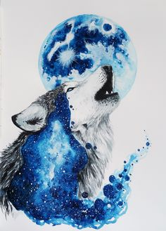 Watercolour wolf by Jonna Lamminaho