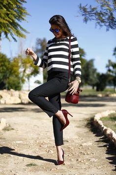 CHIC[winter]: black trousers; breton jumper; dark bordeaux accessories