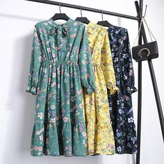 a3f5d565de1ae2 Fashion Casual Elastic Waist Bow Chiffon Printed Floral Dresses – whoslays  #whoslays #gown #
