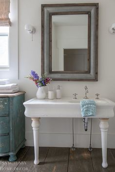 The key to creating a spa-style guest bathroom is to have amenities that are easily reusable by each guest but easy to refill or wash and restock. For example, I use simple white bath accessories in our guest bath mixed with little pops of color to add a bright and beautiful look. Modern Farmhouse Design, Farmhouse Style Decorating, Walmart Home, Rustic Bathrooms, White Towels, Guest Bath, Beautiful Bathrooms, Bath Accessories, Spa