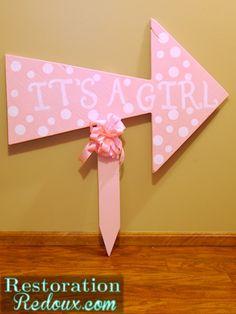 Pink Polka-Dot Baby Announcement Yard Sign http://www.restorationredoux.com/?p=5817