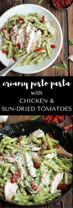 Creamy Pesto Pasta with Chicken & Sun Dried Tomatoes - a quick and easy 30 minute recipe with a creamy pesto sauce, chicken, sun dried tomatoes & parmesan. | passmesometasty.com