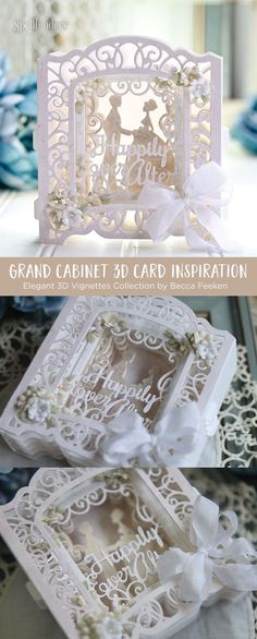 Spellbinders Shapeabilities Grand Cabinet Card Etched Dies Elegant Vignettes by Becca Feeken 3d Cards, Paper Cards, Folded Cards, Card Making Tutorials, Making Ideas, Becca Feeken Cards, Diorama, 3d Birthday Card, Wedding Cards Handmade