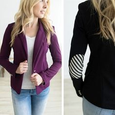 Be put together and still let people know you're the fun one at a party with these elbow patch blazers. Link in bio.  #pickyourplum#whatstrending#ontrend#ootd#modestsharegoodness#mytribe#shoppingtime#boutique #elbowpatch  https://pickyourplum.com/#/products/elbow-patch-blazer/5fc35fdc