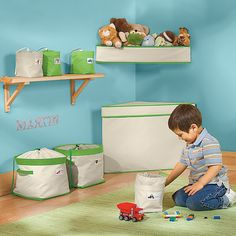 Canvas Toy Storage Bins, Bag & Shelf
