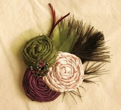 Eggplant Plum, Olive Green and Champagne Rosette Trio Hair Clip, Brooch Pin Corsage or Headband - Vintage inspired accessory. 20.00, via Etsy.
