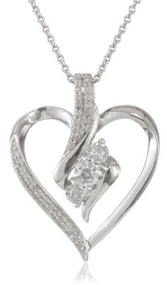 """Sterling Silver Diamond Heart Pendant Necklace (1/4 cttw, I-J Color, I2-I3 Clarity), 18"""" Amazon Curated Collection,http://www.amazon.com/dp/B008ZV9QOM/ref=cm_sw_r_pi_dp_Y1.stb19SMYC4WV4"""