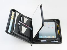 New iPad Portfolio Case with Notepad Leather new iPad Business Case | theleathers - Bags Purses on ArtFire