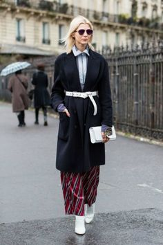 belt over coat and PJ pants - perfection