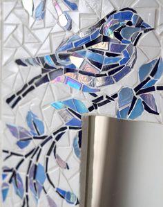 fine art Mosaic bird hanging wall decoration BLUE