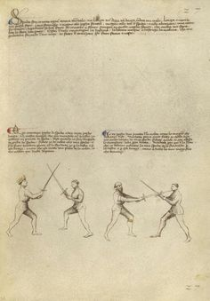 Combat with Sword Artist/Maker(s): Fiore Furlan dei Liberi da Premariacco, author [Italian, about 1340/1350 - before 1450] Date: about 1410 Medium: Tempera colors, gold leaf, silver leaf, and ink on parchment Dimensions: Leaf: 27.9 x 20.6 cm (11 x 8 1/8 in.) Object Number: 83.MR.183.25 Department: Manuscripts