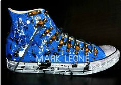 Custom Converse All-Star by Mark Leone ®  ''BLUE DREAM''  Βρές το αγαπημένο σου σχέδιο τώρα! Για περισσότερες πληροφορίες για τις δημιουργίες μας στείλτε μήνυμα στη σελίδα μας διαθέσιμο σε όλα τα χρώματα,και σε όλα τα νούμερα. Available in any size & any colour! For more details ,orders or further information about our creations please send us an inbox message ♦ ♣ ♠ Converse Chuck Taylor High, Converse All Star, Converse High, High Top Sneakers, Custom Converse, Chuck Taylors High Top, High Tops, Stars, Fashion