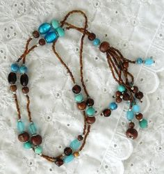 "30"" Turquoise & Brown Glass Bead Seed Tassel Necklace Estate Find Silver Accent #Tassel"