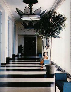 dorothy draper, black and white striped floor