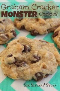 Six Sisters Graham Cracker Monster Cookies Recipe. The graham cracker and chocolate chips take these cookies over the top!! (Candy Cake Condensed Milk)