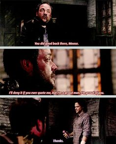 [SET OF GIFS] 8x23 Sacrifice  He had his humanity... for a second there we could see the humanity of Crowly!