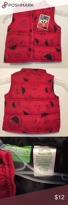 Elmo puffy vest This vest is in excellent used condition Sesame Street Jackets & Coats Vests