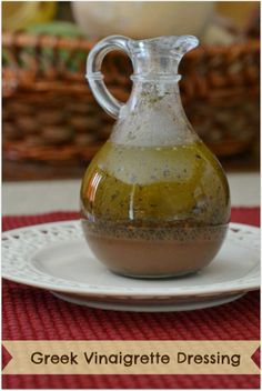 - Need to try this Homemade Greek Vinaigrette Dressing Greek Vinaigrette, Vinaigrette Salad Dressing, Salad Dressing Recipes, Salad Dressings, Cooking Recipes, Healthy Recipes, Healthy Salads, Soup And Salad, Pasta Salad