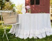 Tablecloth - Round Floor Length Ruffled Linen