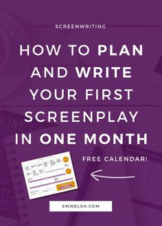 How to Plan and Write Your First Screenplay in One Month Did you know you can write a screenplay in just one month? Check out my simple approach to writing a story in just one month's time! screenwriting tips screenwriting plan write a screenplay Writing A Movie Script, Tv Writing, Fiction Writing, Writing Advice, Start Writing, Writing Prompts, Writing Resources, Writing Help, Writing Ideas