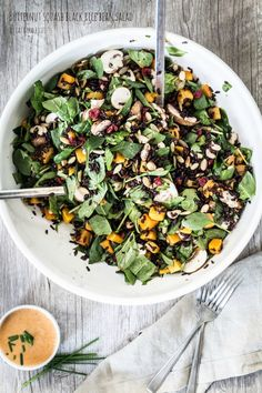 Butternut squash black rice bean salad with Thai curry salad dressing. This is to die for. Gluten free and dairy-free.