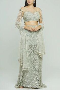 Buy Embroidered Lehenga Set by Neeta Lulla at Aza Fashions Neeta Lulla, Blue Blouse, Indian Outfits, Lehenga, Lace Skirt, Sequins, Two Piece Skirt Set, Stuff To Buy, Fashion Design