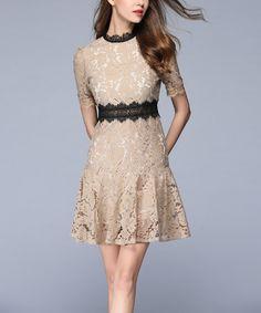 Beige & Black Floral Lace Empire-Waist Dress #zulily #zulilyfinds