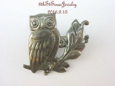 Estate Sterling Silver 925S Just Andersen OWL Pin #418 Danish Denmark Justa…