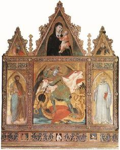 LORENZETTI, Ambrogio St Michael  1330-35 Tempera on wood, 110,5 x 94,5 cm Museo d'Arte Sacra, Asciano  The panel was the central part of a polyptych executed for the Benedictine monastery church established by Guido Tarlati, bishop of Arezzo, in 1319.