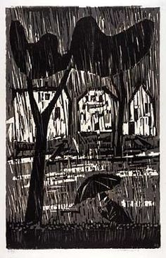 Rain by Werner Drewes / woodcut http://americanart.si.edu/collections/search/artwork/?id=7422