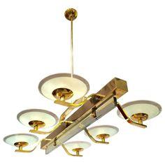 Rectangular Brass and Glass Chandelier 1