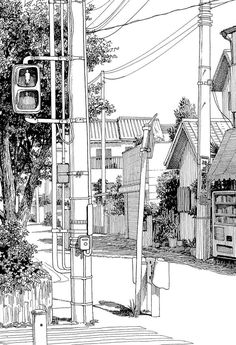 Architectural - Urban Sketches and Cityscape Drawings Ink Illustrations, Illustration Sketches, Drawing Sketches, Art Drawings, Town Drawing, Sketch Painting, Manga Drawing, Painting Abstract, Acrylic Paintings