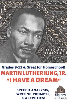 """This resource on MLK Jr.'s """"I Have a Dream"""" includes background history information on the march the complete text and a link to watch! It also includes 10 in-depth speech analysis questions 5 writing prompts and suggested activities. Social Studies Resources, Reading Resources, School Resources, Teacher Resources, Teaching Ideas, Secondary Resources, Teaching Writing, Teaching Materials, Middle School"""