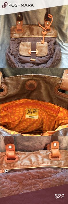 """Fossil Key-Per bag in brown quilted Key-Per by Fossil. This awesome bag is quilted and brown with orange accents. One large pocket on the inside with a smaller zipper pocket on the inside wall plus a small front pocket and a larger zipper pocket on the back. It has a 8.5"""" drop handle it is 12""""tall x 13""""wide Fossil Bags Shoulder Bags"""