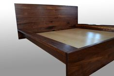 Solid walnut bed frame by Fabitecture on Etsy Timber Bed Frames, Timber Beds, Unique Bed Frames, Steel Coffee Table, King Size Bed Frame, Bed Frame And Headboard, Wood Platform Bed, Walnut Dining Table, How To Make Bed