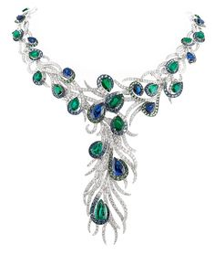 """Sapphire, Emerald and Diamond Elegant Feathers Necklace from Gilan's """"Journey to Dreams"""" collection"""