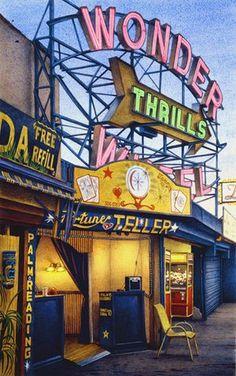 Frederick Brosen, Fortune Teller, Jones Walk, Coney Island, 2008. Watercolor over graphite on paper. Courtesy of Hirschl & Adler Modern, New York. Photo: Joshua Nefsky, courtesy of Hirschl & Adler Modern, New York; © 2013 Frederick Brosen/Artists Rights Society (ARS), New York